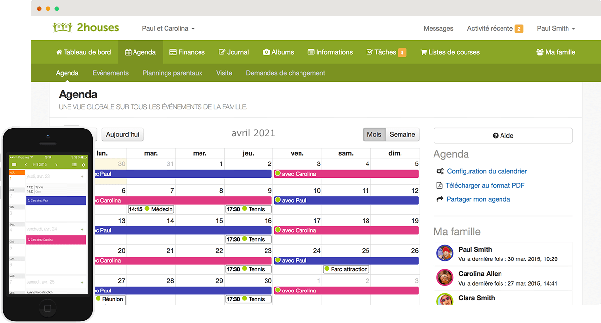 Bien Divorcer Calendrier 2022 Zone B Web et application mobile pour parents séparés